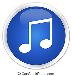 Music icon blue glossy round button