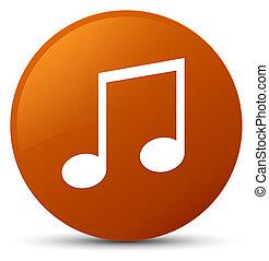 Music icon brown round button