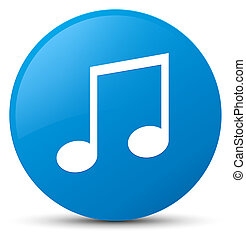 Music icon cyan blue round button