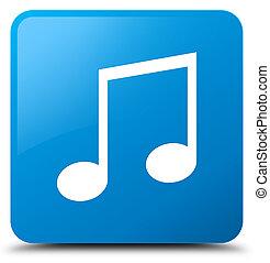 Music icon cyan blue square button