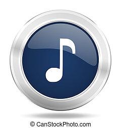 music icon, dark blue round metallic internet button, web and mobile app illustration