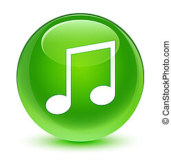 Music icon glassy green round button