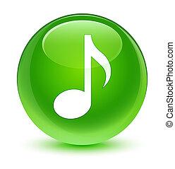 Music icon glassy green round button
