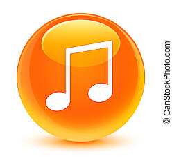 Music icon glassy orange round button