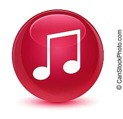 Music icon glassy pink round button