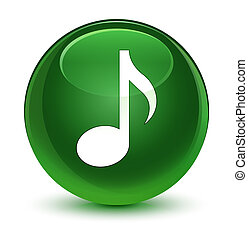Music icon glassy soft green round button