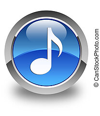 Music icon glossy blue round button 2
