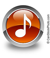 Music icon glossy brown round button