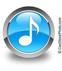 Music icon glossy cyan blue round button