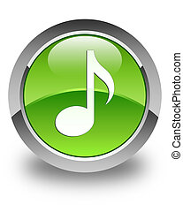 Music icon glossy green round button 2