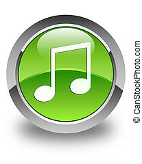 Music icon glossy green round button