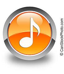 Music icon glossy orange round button 2