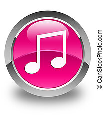 Music icon glossy pink round button