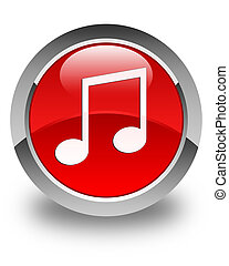 Music icon glossy red round button