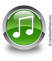 Music icon glossy soft green round button