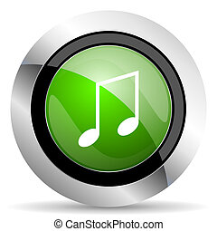 music icon, green button, note sign