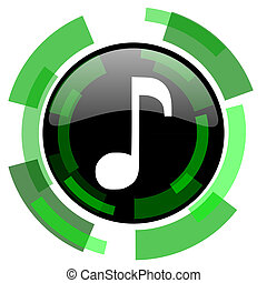music icon, green modern design isolated button, web and mobile app design illustration