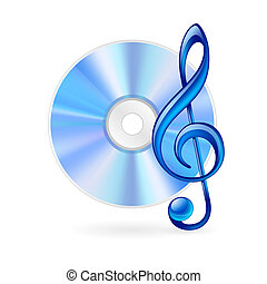 Music icon - CD and treble clef as music icon. Illustration...