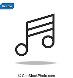 Music Icon in trendy flat style isolated on grey background. Note symbol for your web site design, logo, app, UI. Vector illustration, EPS10.
