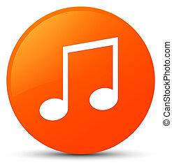 Music icon orange round button