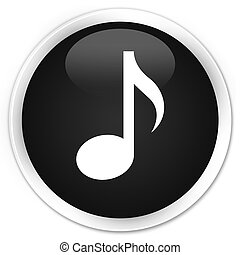Music icon premium black round button