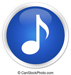 Music icon premium blue round button