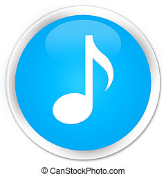 Music icon premium cyan blue round button