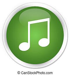 Music icon premium soft green round button