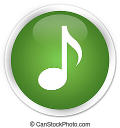 Music icon premium soft green round button