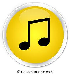 Music icon premium yellow round button