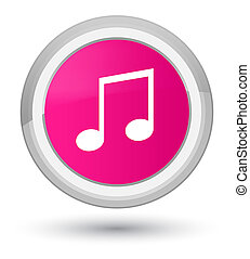 Music icon prime pink round button