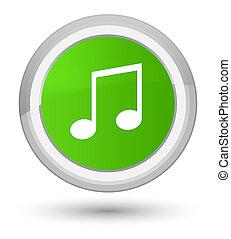 Music icon prime soft green round button