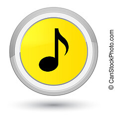 Music icon prime yellow round button
