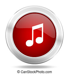 music icon, red round glossy metallic button, web and mobile app design illustration