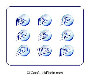 Music Icon Set, Blue - Music Icon Set, blue. Digital...