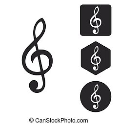 Music icon set, monochrome