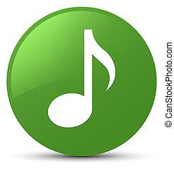 Music icon soft green round button