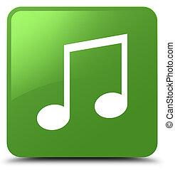 Music icon soft green square button