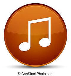 Music icon special brown round button