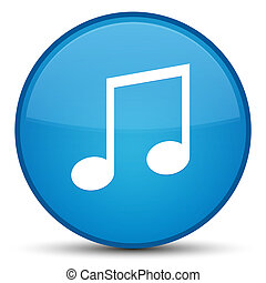 Music icon special cyan blue round button