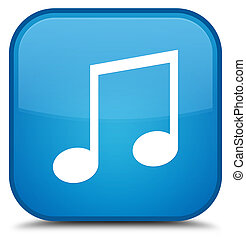 Music icon special cyan blue square button