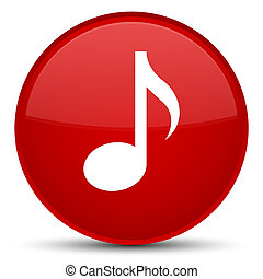 Music icon special red round button