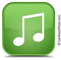 Music icon special soft green square button