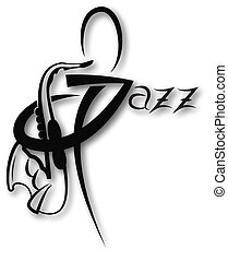 Music icon with jazz inscription can be use like logo