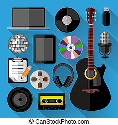 Music icons bundle. Flat design. Vector illustration.