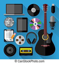 Music icons bundle. Flat design. Vector illustration.