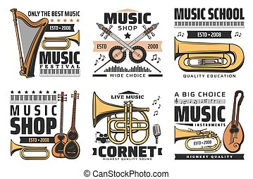 Music icons, concert festival, instruments shop