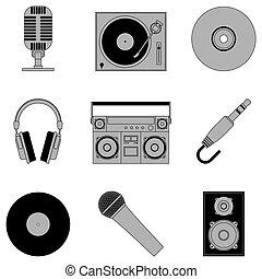 Music icons. - Set of 9 grey music icons, isolated on white...