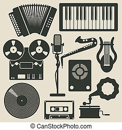 music icons - icon set with musical instruments - vector...