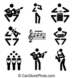Music icons - Set of black illustrations of musical notes...